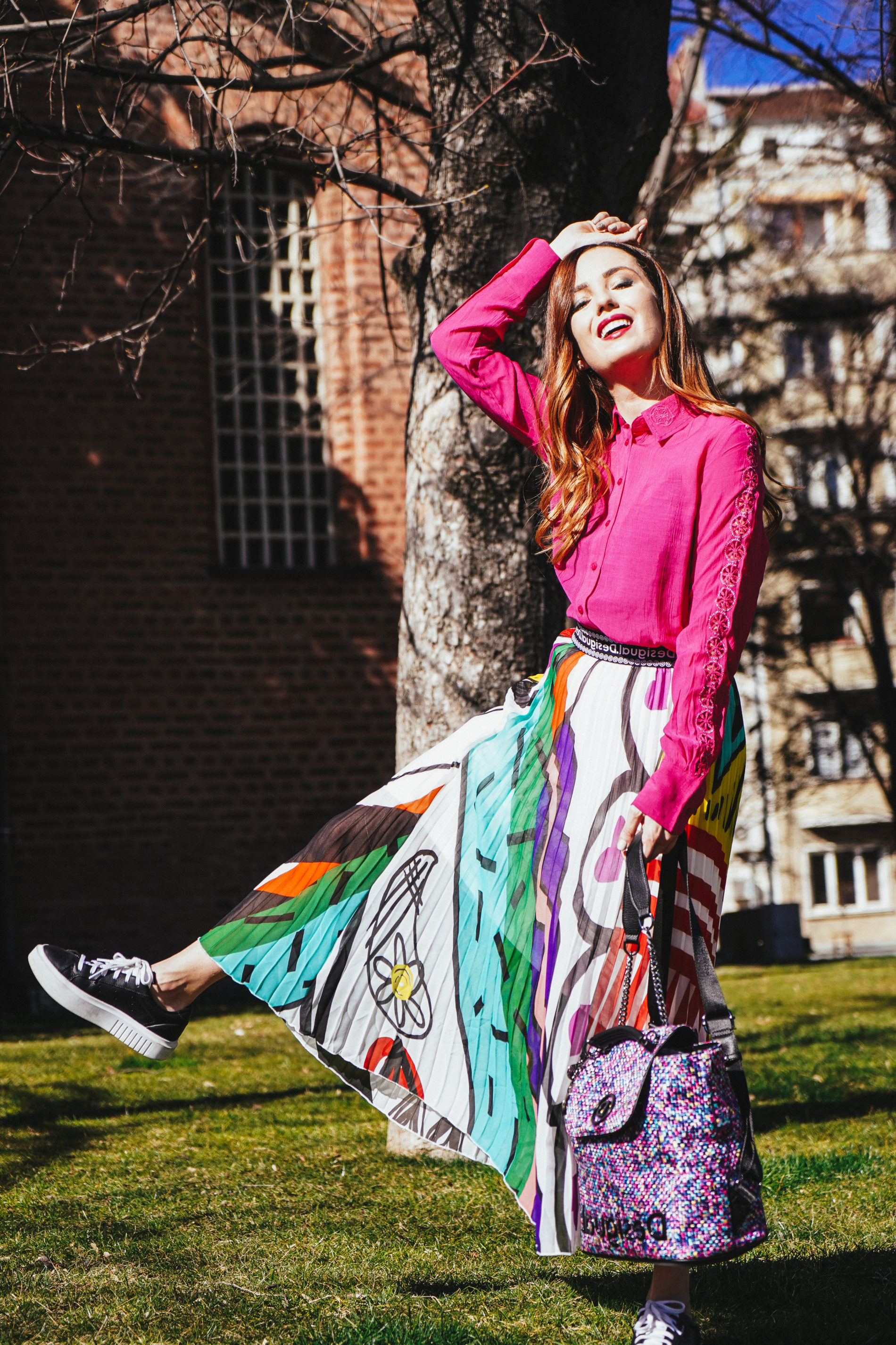 colorful spring outfit 2020 desigual mademoisellie